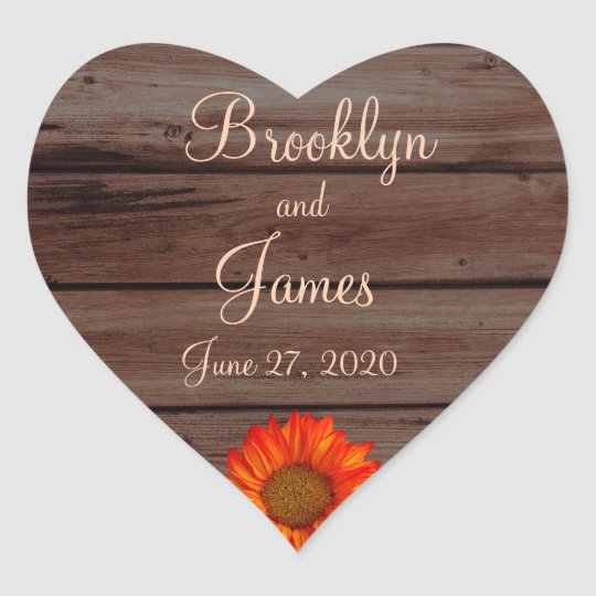 Heart Rustic Wedding Stickers Orange Sunflower