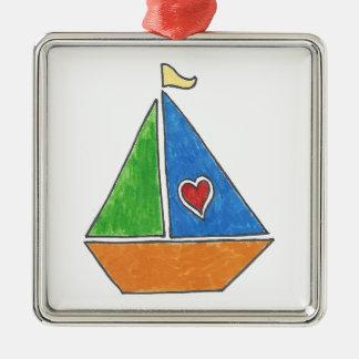 Heart Sailboat Ornament