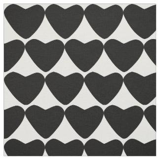 Heart sample black & white black white material fabric