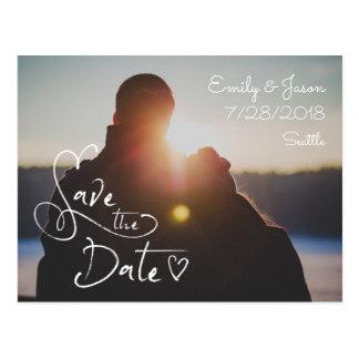 Heart Script Photo Save the Date Postcard