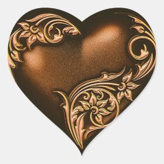 Heart Scroll Chocolate Brown w Gold Heart Sticker