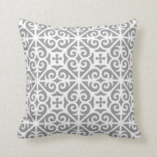 Heart Scroll Cross Pattern in Grey and White Throw Pillow