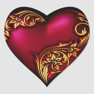 Heart Scroll Red Gold Heart Sticker