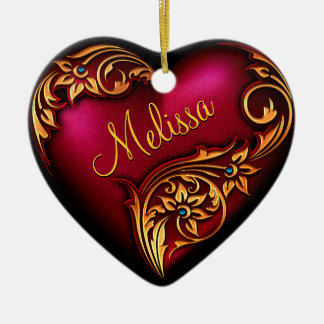 Heart Scroll Red Gold Personalized Ornament