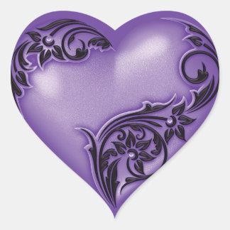 Heart Scroll Wisteria w Black Heart Sticker