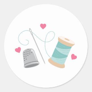 Heart Sewing supplies Round Sticker