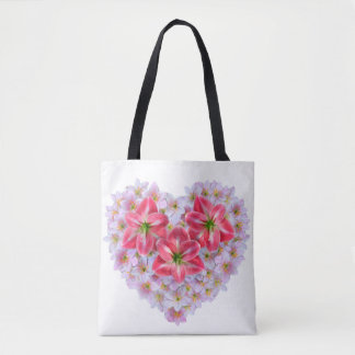 Heart shape amaryllis flower tote bag