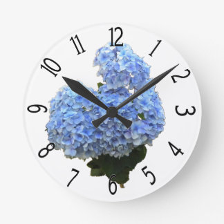 Heart Shape Blue Hydrangea Round Clock