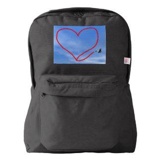 Heart shape from biplan smoke - 3D render Backpack