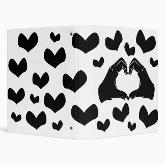 Heart Shape Hands Illustration with black hearts 3 Ring Binders