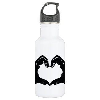 Heart Shape Hands Illustration with black hearts 532 Ml Water Bottle