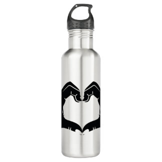 Heart Shape Hands Illustration with black hearts 710 Ml Water Bottle