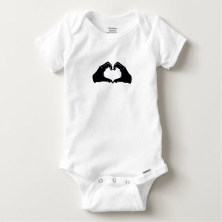 Heart Shape Hands Illustration with black hearts Baby Onesie