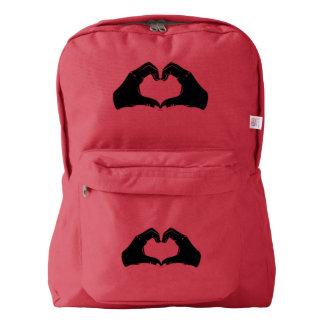 Heart Shape Hands Illustration with black hearts Backpack