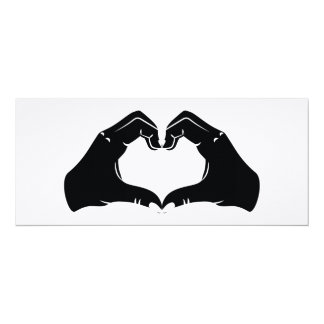 Heart Shape Hands Illustration with black hearts Card
