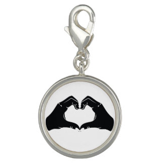 Heart Shape Hands Illustration with black hearts Charms