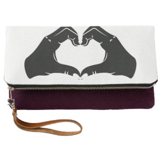 Heart Shape Hands Illustration with black hearts Clutch