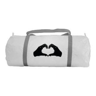 Heart Shape Hands Illustration with black hearts Gym Bag