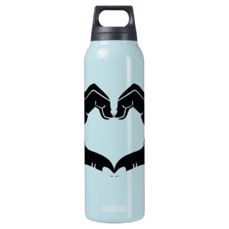 Heart Shape Hands Illustration with black hearts Insulated Water Bottle