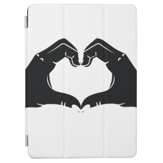 Heart Shape Hands Illustration with black hearts iPad Air Cover