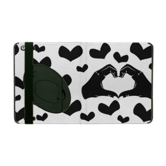Heart Shape Hands Illustration with black hearts iPad Covers