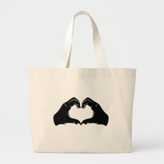 Heart Shape Hands Illustration with black hearts Large Tote Bag