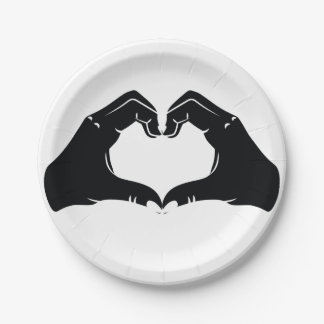 Heart Shape Hands Illustration with black hearts Paper Plate