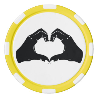 Heart Shape Hands Illustration with black hearts Poker Chips