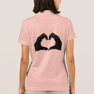 Heart Shape Hands Illustration with black hearts Polo Shirt