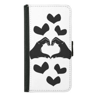 Heart Shape Hands Illustration with black hearts Samsung Galaxy S5 Wallet Case