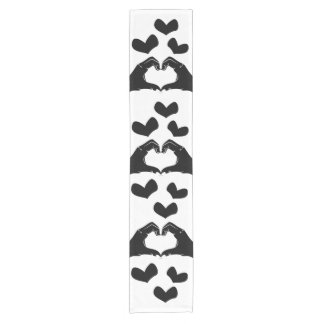 Heart Shape Hands Illustration with black hearts Short Table Runner