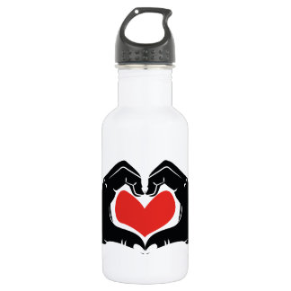 Heart Shape Hands Illustration with red hearts 532 Ml Water Bottle