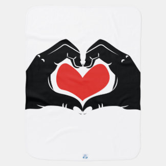 Heart Shape Hands Illustration with red hearts Baby Blanket