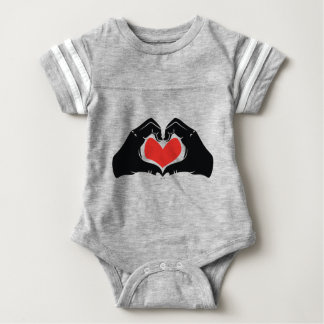 Heart Shape Hands Illustration with red hearts Baby Bodysuit