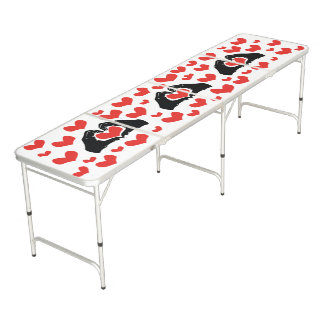 Heart Shape Hands Illustration with red hearts Beer Pong Table