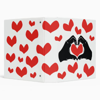 Heart Shape Hands Illustration with red hearts Binder