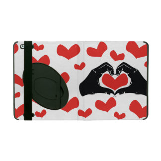 Heart Shape Hands Illustration with red hearts Cases For iPad
