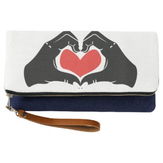 Heart Shape Hands Illustration with red hearts Clutch