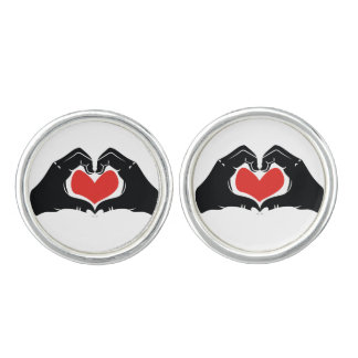Heart Shape Hands Illustration with red hearts Cufflinks