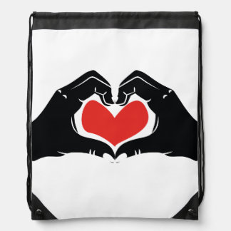 Heart Shape Hands Illustration with red hearts Drawstring Bag