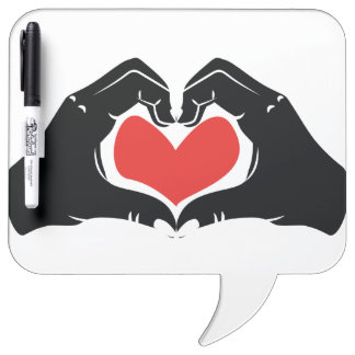 Heart Shape Hands Illustration with red hearts Dry Erase Whiteboard