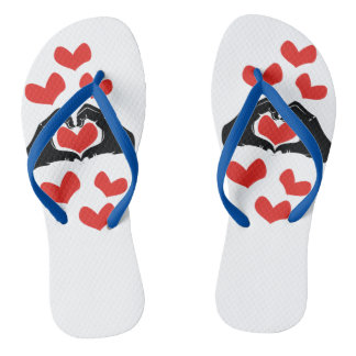 Heart Shape Hands Illustration with red hearts Flip Flops