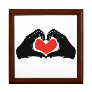 Heart Shape Hands Illustration with red hearts Gift Box