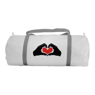 Heart Shape Hands Illustration with red hearts Gym Bag