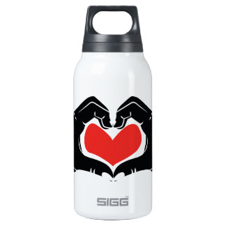 Heart Shape Hands Illustration with red hearts Insulated Water Bottle