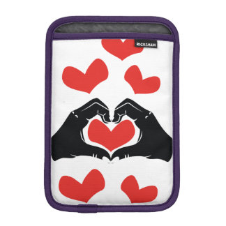 Heart Shape Hands Illustration with red hearts iPad Mini Sleeves