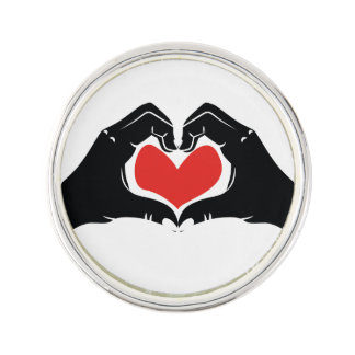 Heart Shape Hands Illustration with red hearts Lapel Pin