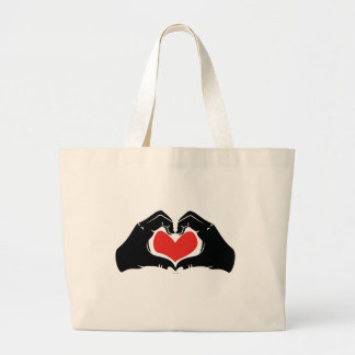 Heart Shape Hands Illustration with red hearts Large Tote Bag
