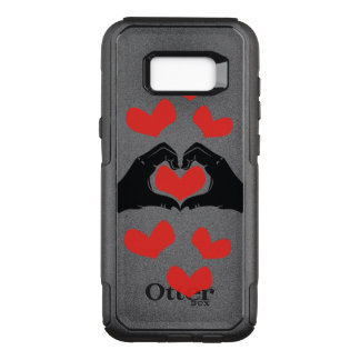 Heart Shape Hands Illustration with red hearts OtterBox Commuter Samsung Galaxy S8+ Case