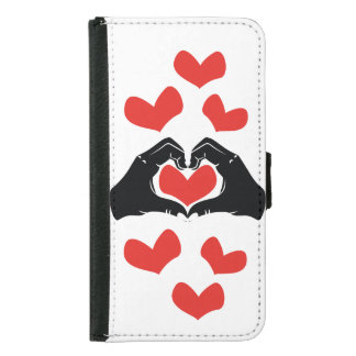 Heart Shape Hands Illustration with red hearts Samsung Galaxy S5 Wallet Case